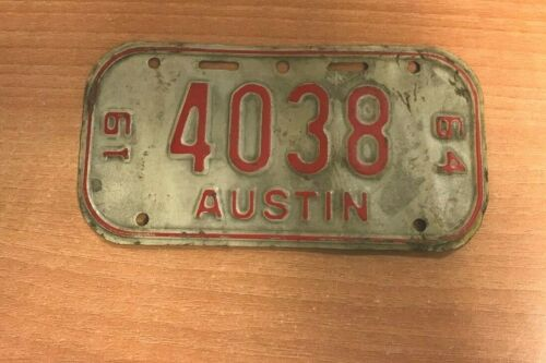 Vintage Austin #4038 Bicycle Tin License Plate Dated 1964