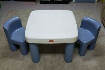 Vintage Little Tikes Chunky Kids Chairs Table Set 2 Drawers Very Rare Blue White