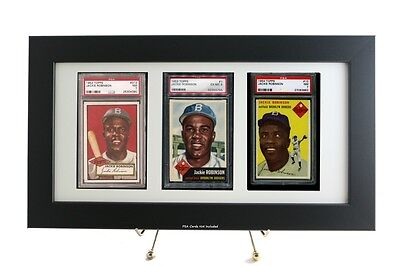 Graded Sports Card Framed Display for (3) PSA Vertical Cards