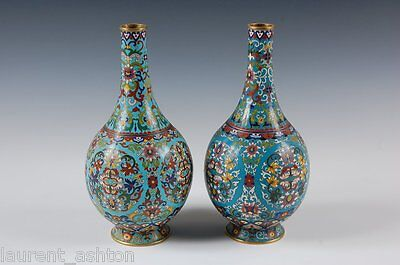 ASIAN CHINESE QING DYNASTY CLOISONNE SCROLLING LOTUS TURQUOISE GROUND VASE PAIR