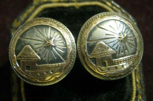 1940s El Salvador 900 Silver (w/ 12K Gold Accents) Straw Hut w/ STAR Cufflinks