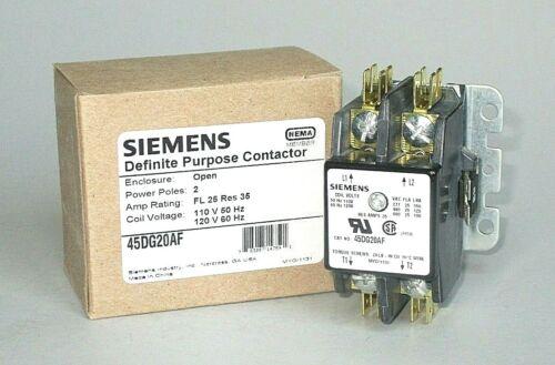 Siemens Contactor, 120 Volt Coil, 25 FLA, 35 Amp Resistive, 2 Pole, 45DG20AF