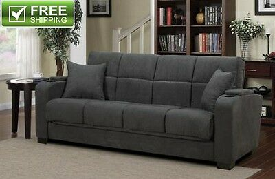 Convertible Sofa Bed Gray Microfiber Cup Holder Versatile Full Size Bed New!