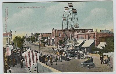 1910 Era Street Carnival Williston North Dakota Printed Postcard Merry Go Round