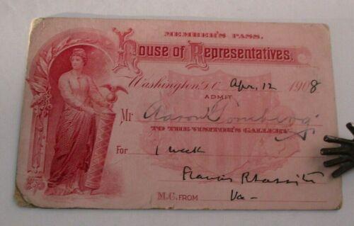 1908 HOUSE OF REPRESENTATIVES Visitor