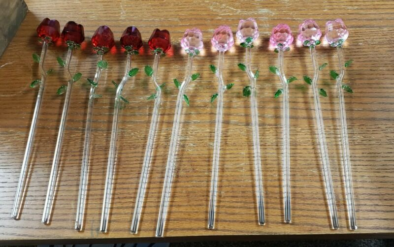Vintage blown glass long stem roses red pink LOT (11)