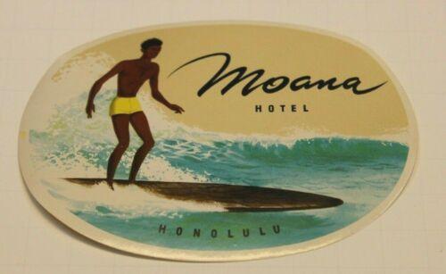 Vintage Moana Hotel Honolulu Luggage Tag Label Wood Surfboard Hawaii Unused