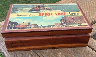 Vintage Lake Okoboji / Spirit Lake, Iowa Souvenir Cedar Dresser / Trinket Box
