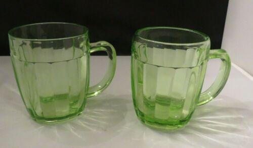 Hocking Pillar Optic Green Uranium Mugs Set of Two Vintage Glass!