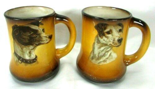 Antique Taylor Smith TST Pottery Circa 1908 Greyhound Whippet Dog Mug Lot (2)