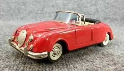 VINTAGE BANDAI TIN LITHO JAGUAR 3.4 CONVERTIBLE RED FRICTION CAR