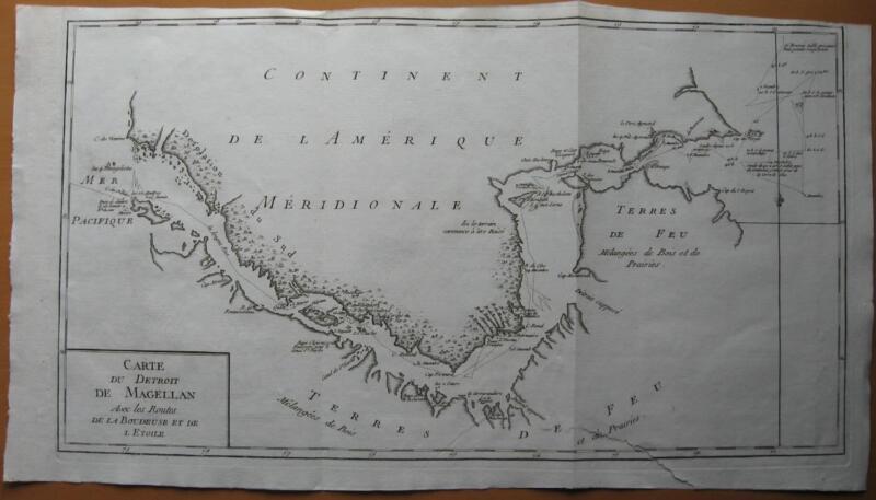 1787 - De PRETOT - Map STRAIT OF MAGELLAN  BOUGAINVILLE Route Boudeuse Etoile