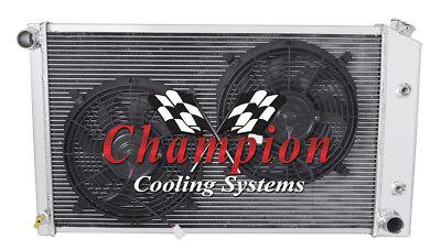 1970 1981 Pontiac Firebird 3 Row Champion CA All Aluminum Radiator with 12 Fans