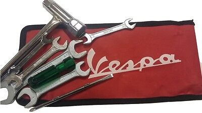 ukscooters VESPA HANDY TOOL KIT WITH RED WOVEN POUCH NEW