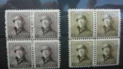 165-166 xx MNH Albert met helm - Roi Casqe blokken van 4 - blocs de 4