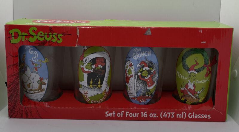 Dr. Seuss Grinch Christmas Set of Four 16 oz Pint Glasses