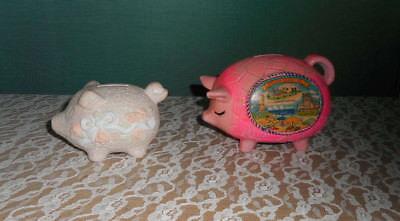 2 CUTE PIG PIGGY BANK VIRGINIA BEACH SOUVENIR AND PINK FLORAL PIG (Pink Pig Piggy Bank)
