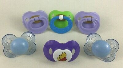 Brown Latex Nipples Baby Pacifiers Vintage 6pc Lot Nuk Disney Mam 0m+