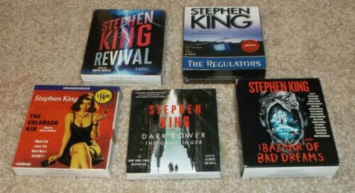 LOT OF 5 STEPHEN KING AUDIOBOOKS - REVIVAL, COLORADE KID, REGULATORS, PLUS 2