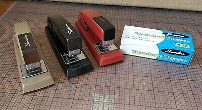 3 Vintage Swingline 711 Staplers  Staples - Black Red Beige