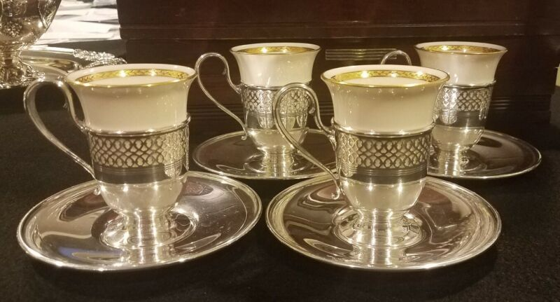 TIFFANY & CO.STERLING SILVER DEMITASSE CUPS & SAUCERS
