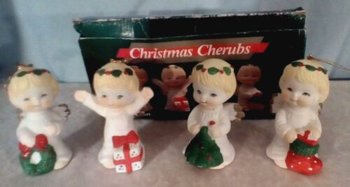 Jamestown Vintage Angels Christmas Ornaments Figurines 4 Cherubs 1990s Porcelain