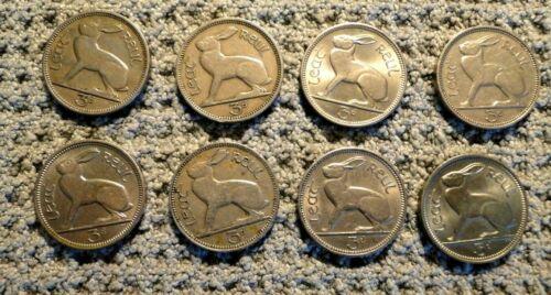 IRELAND 8 THREE PENCE COINS 1943-1968, KM # 12