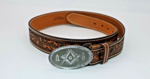 100% Waco Leather belt with Daleco Masonic (Freemason) Belt Buckle