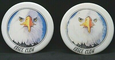 2 Eagle Claw Fishing Lures Flies Stone Ware Drink Coasters Rare Advertising