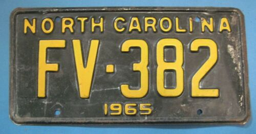 1965 North Carolina license plate all original with low number