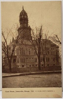 Jerseyville IL Court House Photoette by C.U. Williams Bloomington Postcard E17 for sale  Marion