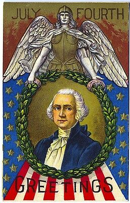 4th Juli George Washington Armoured Angel Kranz Flagge Postkarte ()