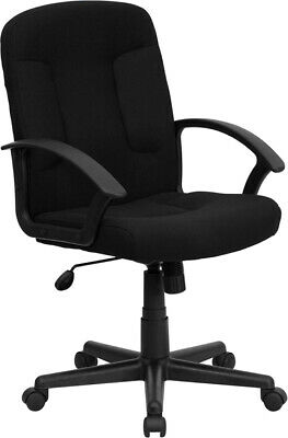 Mid Back Black Fabric Office Desk Chair W Padded Arms Adjustable Seat Height