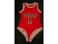 Beyonce Chicago Bulls Swimsuit Feeling Myself Bathing Suit Bodysuit Red White Black Feelin Leotard