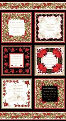Christmas Card Panel-Benartex-Inside Sayings-Christmas Cards-Gold Highlights - Christmas Cards Sayings