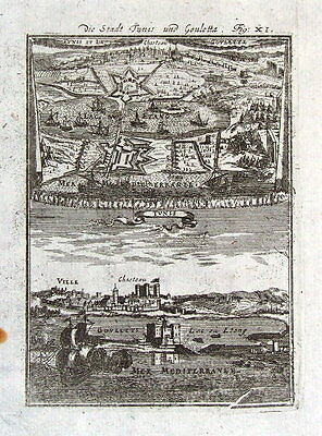 TUNIS, TUNISIA, AFRICA, CITY PLAN, VIEW Mallet orig. antique map and print 1719