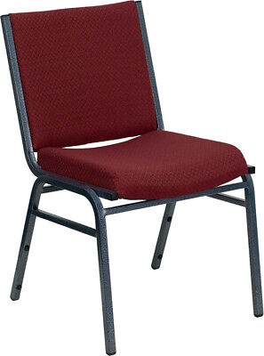 Heavy Duty Burgundy Fabric Stack Office Guest Chair
