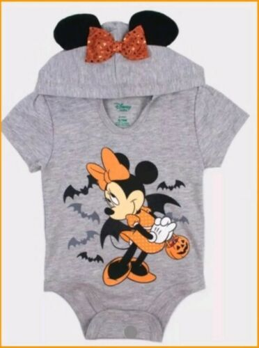 Disney baby Girls' Minnie Mouse Short Sleeve Hooded Bodysuit