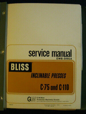 Bliss C-75 And C-110 Service Manual