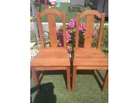 LOVELY PAIR OF SOLID WOOD RUSTIC DINING CHAIRS