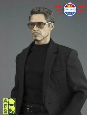 1/6 Black Casual Suit Outfit w/ SUNGLASSES set for 12'' Male Figure Iron Man - Iron Man Outfit