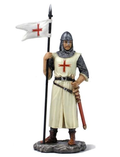 """5.25"""" Armored Crusader With Flag Medieval Times Knight Statue Warrior Figure"""