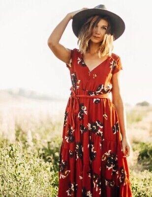 Free People All I Got Floral Maxi Dress 10 Burnt Red Combo Boho Belt Prairie