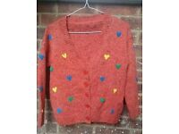 Medium orange woolen cardigan with hearts 💕