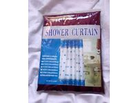 BURGUNDY FABRIC SHOWER CURTAIN WITH HOOKS