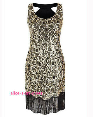 20sGatsby 1920's Flapper Cocktail Charleston Black gold Dress Fringed Plus Size