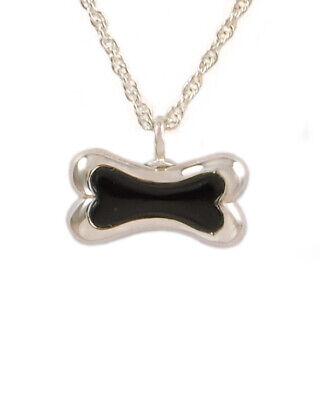 Cremation Silver Dog Bone Onyx Stone Necklace Urn Pendant Jewelry Memorial (Stone Dog Bone)
