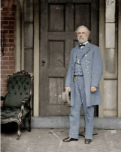 Confederate Gen. Robert E Lee US Civil War Photo Painting Real Canvas Art Print