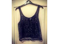 Black Lace Crop Top - Top 14 - BRAND NEW