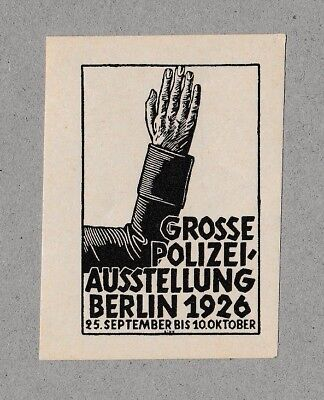 German Poster Stamp POLICE EXHIBITION 1926 Graphic Design Typography Criminology